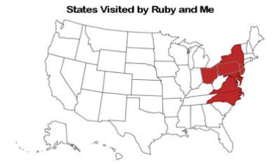 States visited by Ruby and I.